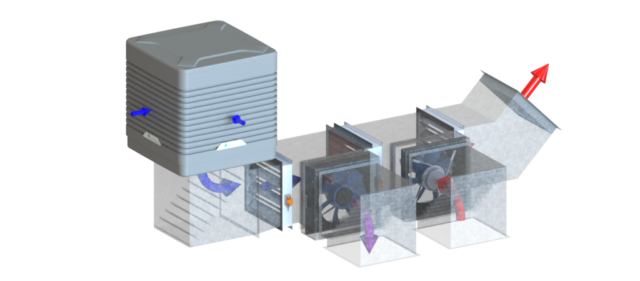 EcoCooling WetBox Large - Down Flow Configuration - Air handling solution with EC fans