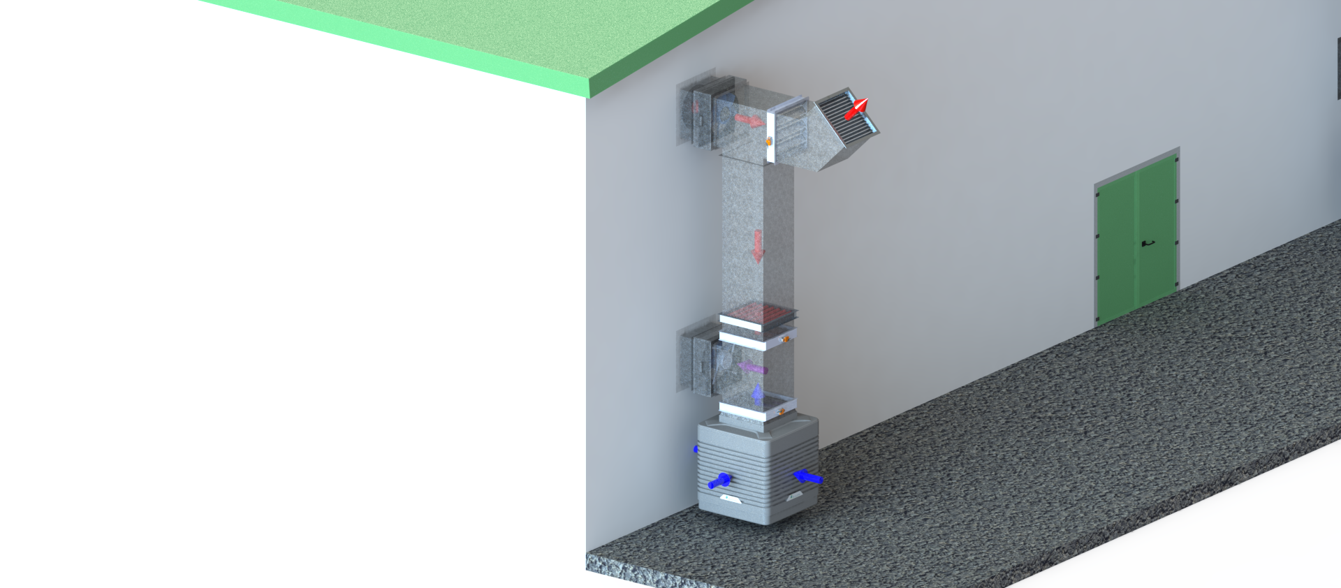 EcoCooling WetBox Large - Top Flow Configuration - Floor mounted air handling solution with EC fans