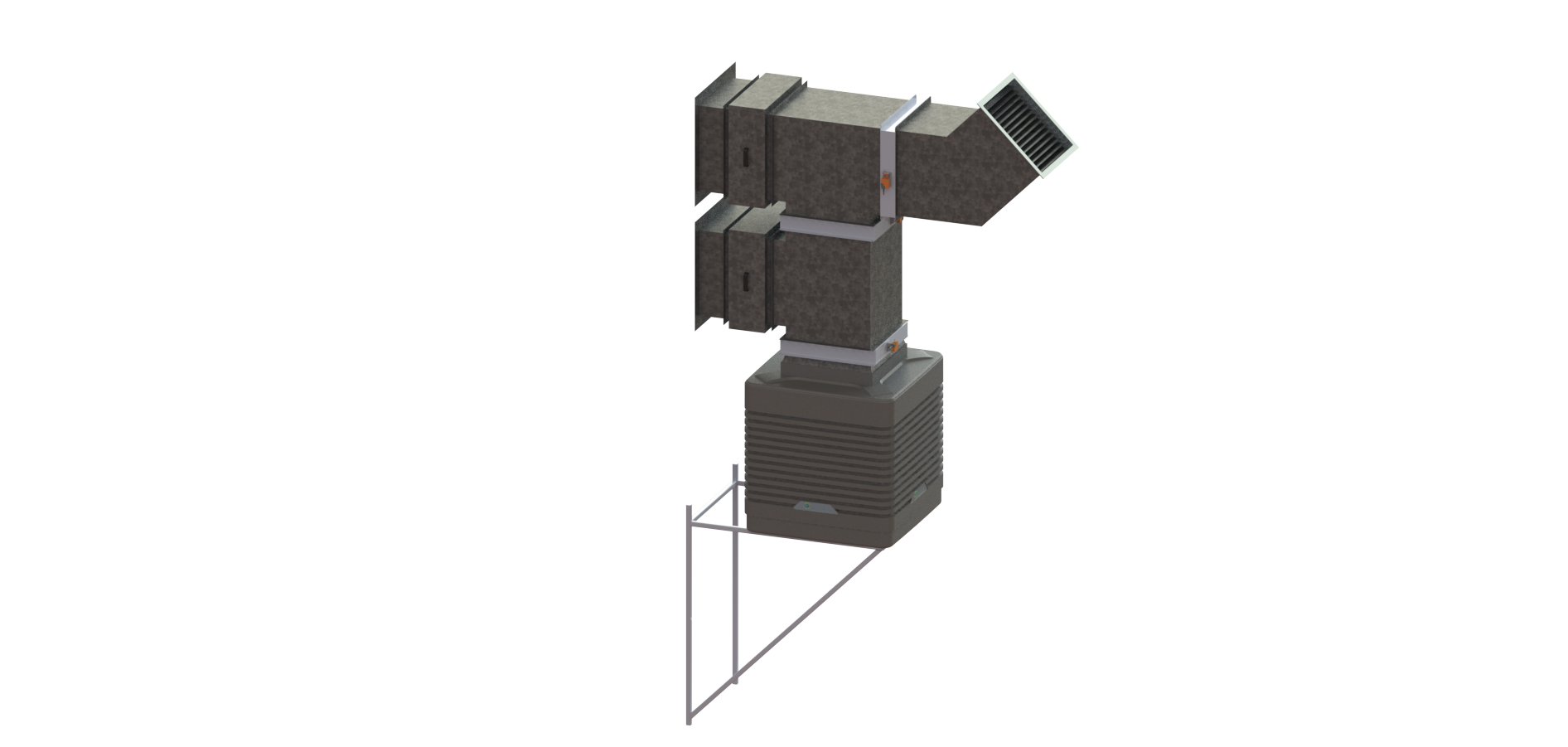 EcoCooling WetBox Large - Top Flow Configuration - Wall mounted air handling solution with EC fans