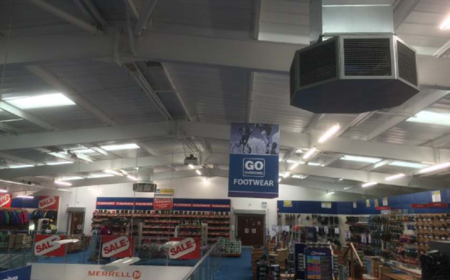 Retailer, Go Outdoors uses an 8 way plenum to cool their shop