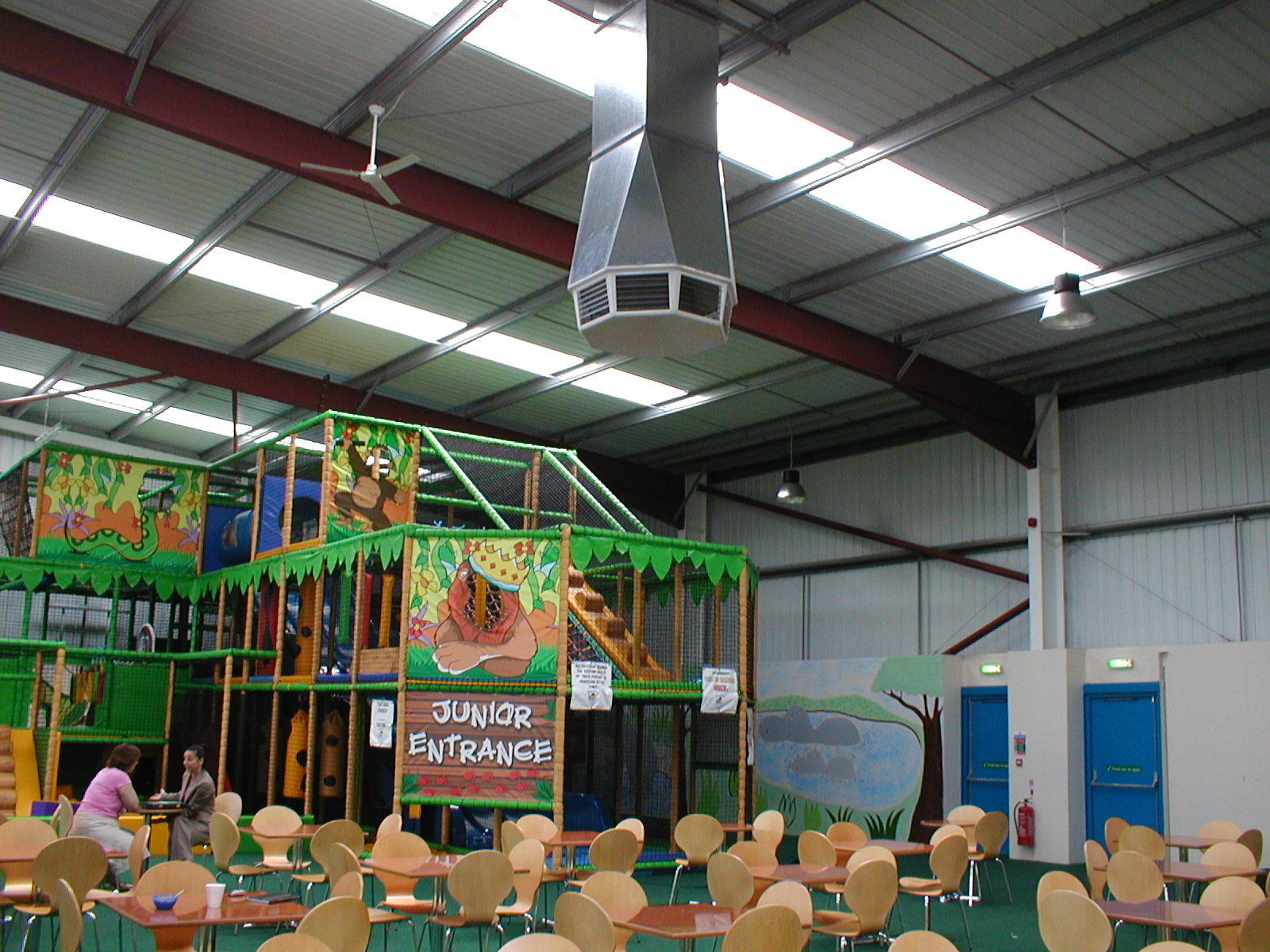 Evaporative cooling a childrens play area.